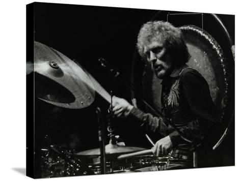 Drummer Ginger Baker Performing at the Forum Theatre, Hatfield, Hertfordshire, 1980-Denis Williams-Stretched Canvas Print