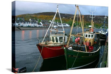 Fishing Boats in Ullapool Harbour at Night, Highland, Scotland-Peter Thompson-Stretched Canvas Print