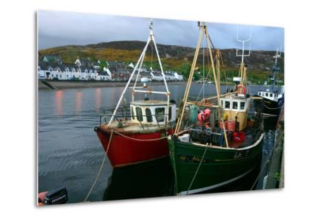 Fishing Boats in Ullapool Harbour at Night, Highland, Scotland-Peter Thompson-Metal Print