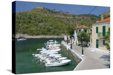 Boats at the Quayside, Assos, Kefalonia, Greece-Peter Thompson-Stretched Canvas Print