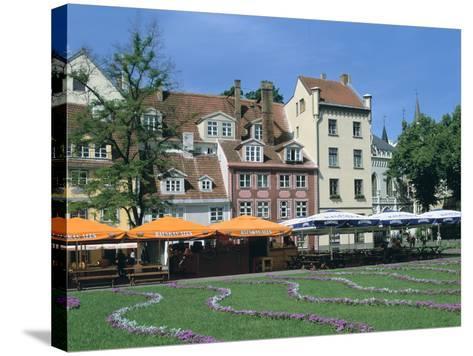 Houses on Meistaru Iela, Riga, Latvia-Peter Thompson-Stretched Canvas Print