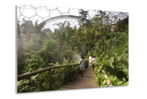 Inside the Humid Tropics Biome, Eden Project, Near St Austell, Cornwall-Peter Thompson-Metal Print