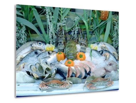 Fish Restaurant Display, Rethymnon, Crete, Greece-Peter Thompson-Metal Print