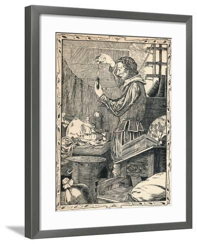 Guy Fawkes Preparing the Slow Match, 1902-Patten Wilson-Framed Art Print