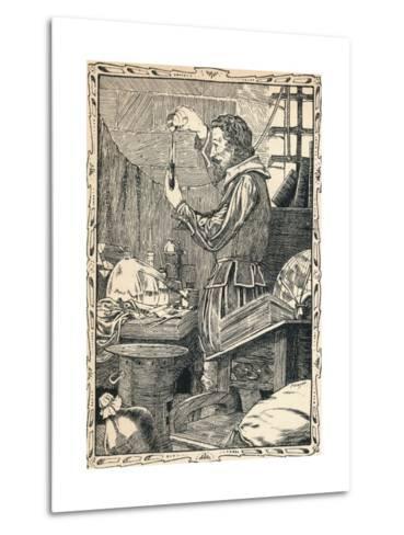Guy Fawkes Preparing the Slow Match, 1902-Patten Wilson-Metal Print