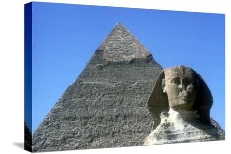 The Sphinx and Pyramid of Khafre (Chephren), Giza, Egypt, 4th Dynasty, 26th Century Bc-CM Dixon-Stretched Canvas Print