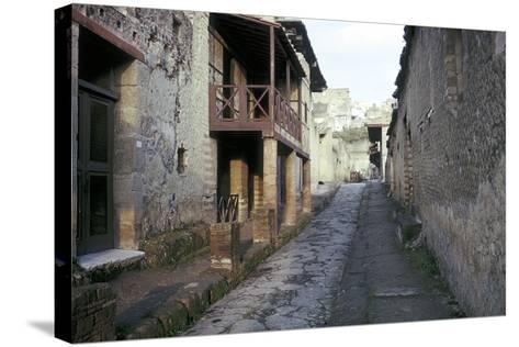 Casa a Graticcio, Herculaneum, Italy: Facade of the Roman House-CM Dixon-Stretched Canvas Print