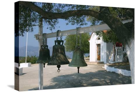 Bells from Old Bell Tower, Monastery of Agrilion, Kefalonia, Greece-Peter Thompson-Stretched Canvas Print