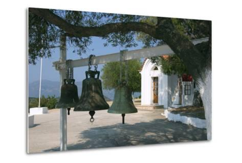 Bells from Old Bell Tower, Monastery of Agrilion, Kefalonia, Greece-Peter Thompson-Metal Print