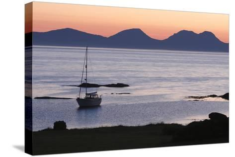 Sunset over Jura Seen from Kintyre, Argyll and Bute, Scotland-Peter Thompson-Stretched Canvas Print