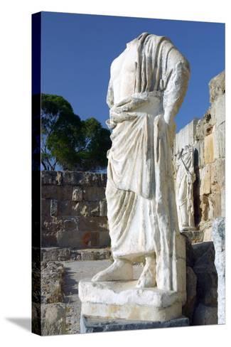 Headless Statue, Roman Gymnasium, Salamis, North Cyprus-Peter Thompson-Stretched Canvas Print