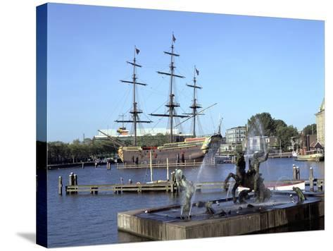 Replica Dutch East Indiaman at Scheepvaart Museum, Amsterdam, Netherlands-Peter Thompson-Stretched Canvas Print