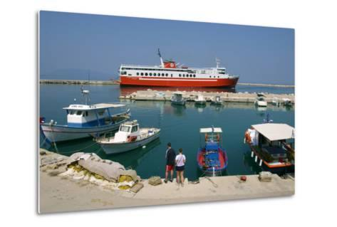 Ferry in the Harbour of Poros, Kefalonia, Greece-Peter Thompson-Metal Print