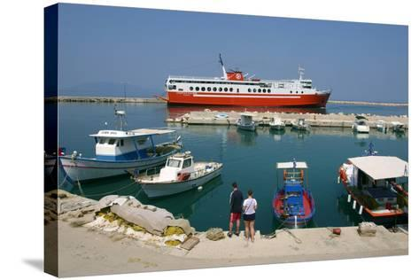 Ferry in the Harbour of Poros, Kefalonia, Greece-Peter Thompson-Stretched Canvas Print