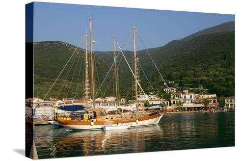 Sailing Boat Off Sami, Kefalonia, Greece-Peter Thompson-Stretched Canvas Print