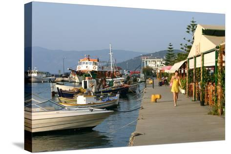 Waterfront at Sami, Kefalonia, Greece-Peter Thompson-Stretched Canvas Print