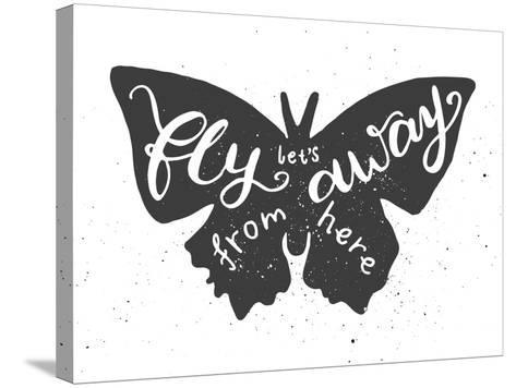 Butterfly Lettering Poster-zapolzun-Stretched Canvas Print