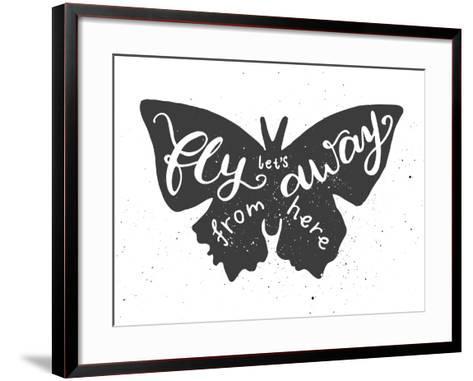 Butterfly Lettering Poster-zapolzun-Framed Art Print