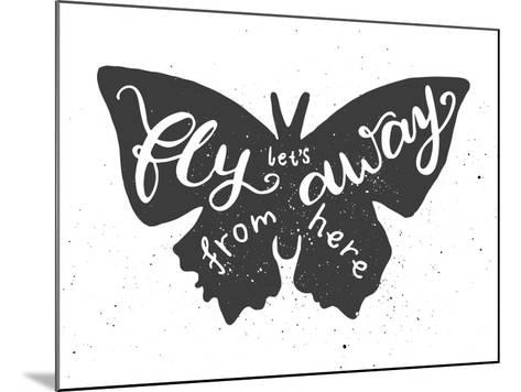 Butterfly Lettering Poster-zapolzun-Mounted Art Print
