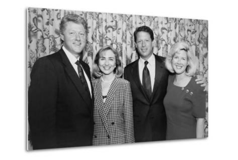 1992 Democratic Nominees for President and Vice President with their Wives--Metal Print