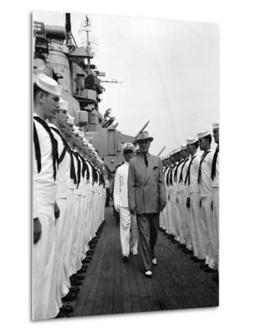 President Harry Truman Inspects the Personnel of the Uss Missouri--Metal Print