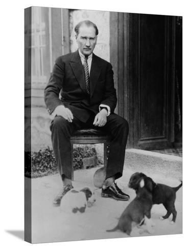 Mustafa Kemal Ataturk, President of Turkey, with His Pet Dogs, Ca. 1930--Stretched Canvas Print