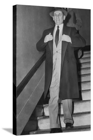 Gangster Meyer Lansky Leaving Manhattan Arrest Court on Feb--Stretched Canvas Print