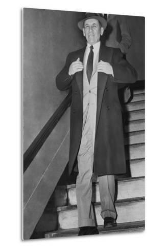 Gangster Meyer Lansky Leaving Manhattan Arrest Court on Feb--Metal Print