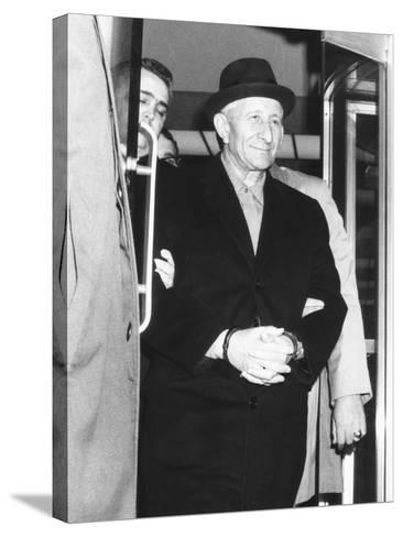 Handcuffed Carlo Gambino Is Led from Fbi Headquarters on March 23, 1970--Stretched Canvas Print