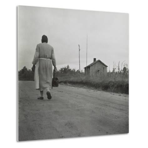 African American Midwife Carrying Her Medical Bag on a Dirt Road in Georgia--Metal Print