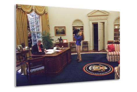Chelsea Clinton Playing with Socks the Cat in the Oval Office--Metal Print
