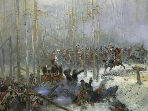 Cuirassier of Colonel Dubois Charging During Battle of Berezina, Nov. 28, 1812-Edouard Detaille-Stretched Canvas Print