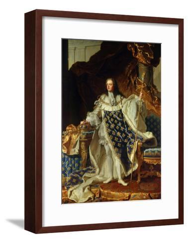 King Louis XV of France in Coronation Robe. 1730-Hyacinthe Rigaud-Framed Art Print