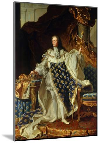 King Louis XV of France in Coronation Robe. 1730-Hyacinthe Rigaud-Mounted Giclee Print