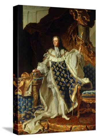 King Louis XV of France in Coronation Robe. 1730-Hyacinthe Rigaud-Stretched Canvas Print