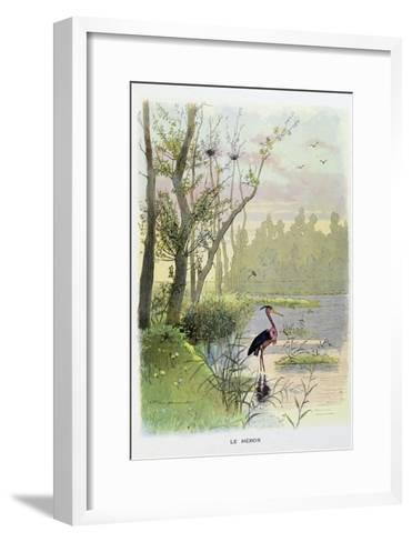 The Heron, La Fontaine's Fables-Firmin Bouisset-Framed Art Print