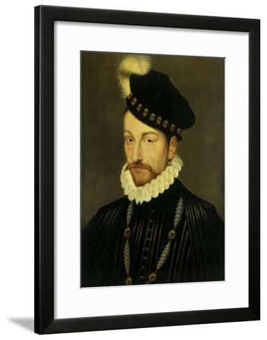 Portrait of Charles IX, King of France. Ca. 1570-Francois Clouet-Framed Art Print
