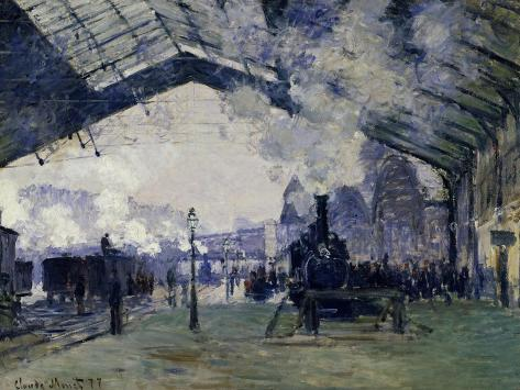 Arrival of the Normandy Train, Gare Saint-Lazare, 1877-Claude Monet-Stretched Canvas Print
