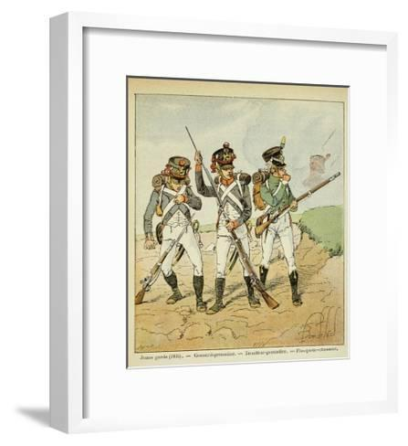 Young Guard: Conscript Grenadier, Tirailleur-Grenadier, and Flanqueur-Chasseur-Louis Bombled-Framed Art Print