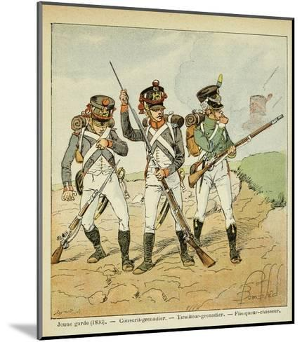Young Guard: Conscript Grenadier, Tirailleur-Grenadier, and Flanqueur-Chasseur-Louis Bombled-Mounted Giclee Print