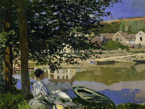 On the Bank of the Seine, Bennecourt, 1868-Claude Monet-Stretched Canvas Print