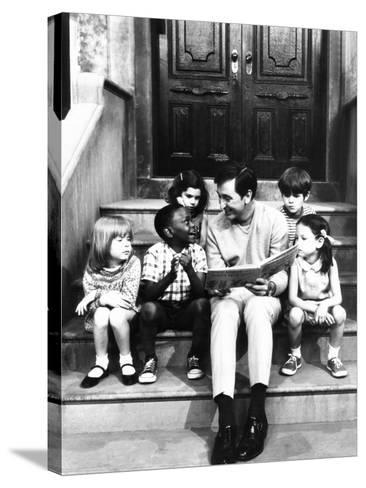 Robert Emmet Mcgrath, as Character Bob Johnson, Reading to Children on Seseme Street, 1970--Stretched Canvas Print