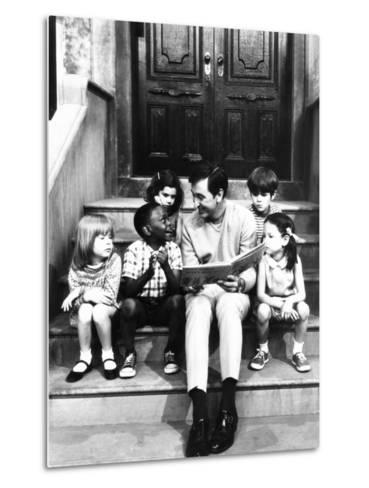 Robert Emmet Mcgrath, as Character Bob Johnson, Reading to Children on Seseme Street, 1970--Metal Print