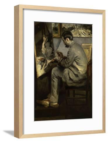 Portrait of Frederic Bazille Painting 'The Heron in Flight,' 1867-Pierre-Auguste Renoir-Framed Art Print