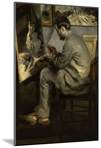 Portrait of Frederic Bazille Painting 'The Heron in Flight,' 1867-Pierre-Auguste Renoir-Mounted Giclee Print