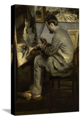 Portrait of Frederic Bazille Painting 'The Heron in Flight,' 1867-Pierre-Auguste Renoir-Stretched Canvas Print
