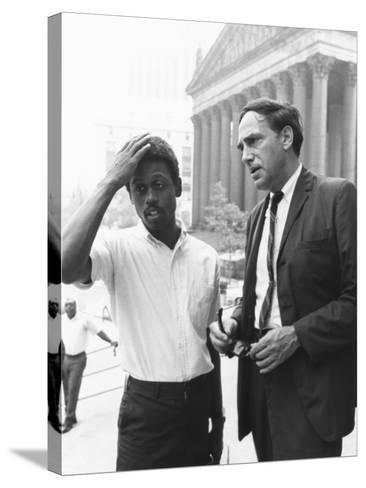 Ralph Featherstone of Sncc with Civil Rights Attorney, William Kunstler, Outside Federal Court--Stretched Canvas Print