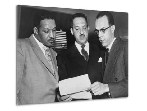 Lawyers Confer at the Supreme Court Prior to Presenting Arguments Against School Segregation--Metal Print