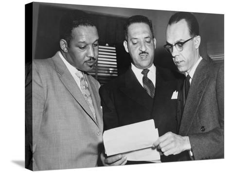 Lawyers Confer at the Supreme Court Prior to Presenting Arguments Against School Segregation--Stretched Canvas Print
