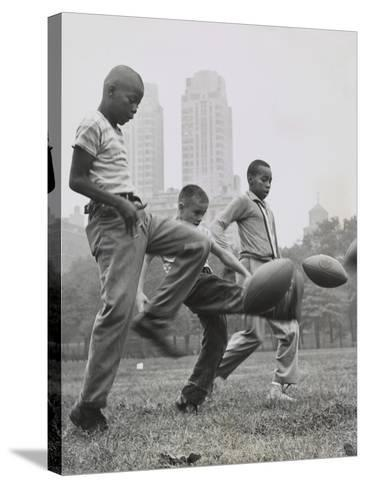 11 Year Olds in the 'Punt, Pass, and Kick' Competition at Heckscher Playground in Central Park--Stretched Canvas Print